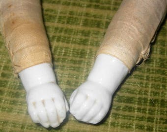 Antique China Doll Arms with China Hands