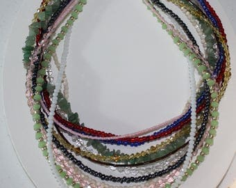 Beaded Multi Strand Necklace/12 Strand Necklace/Necklace Handmade Green And White Crystal Necklace/Gemstone Bib Necklace/Seed Bead Necklace