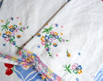 Vintage Pillowcases - Hand Embroidered Pink Yellow and Blue Flowers - Standard Size Pair