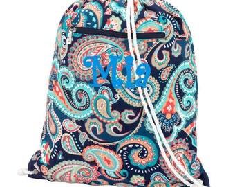 Girls Monogrammed Paisley Print Drawstring Backpack Swimming Pool Bag Personalized Cinch Sack