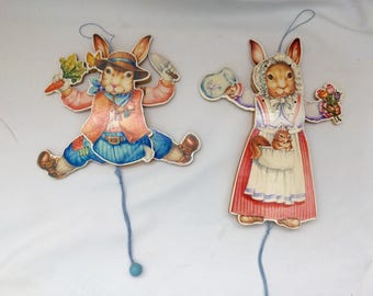 2 Pull String Jumping Jack Bunny Puppets