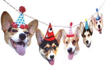 Corgi Dogs Birthday Garland - photo reproductions on felt - funny Corgi portraits birthday banner
