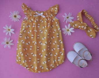 Sunsuit romper playsuit for babies and toddlers bright yellow with bumble bees with matching top knot headband