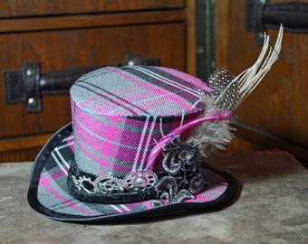 grey and pink tartan steampunk mini top hat, mad hatter, alternative wedding