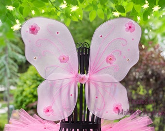 Light Hot Pink Gold Butterfly Wings, Baby Girl Garden Fairy Pixie first birthday outfit, newborn, rose flowers pearl beads, glitter flamingo