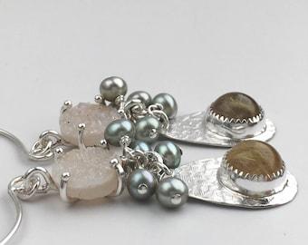 Druzy, Freshwater Pearl and Rutilated Quartz Gemstone Dangle Earrings - Unique Stone Earrings - Long Sterling Silver Earrings