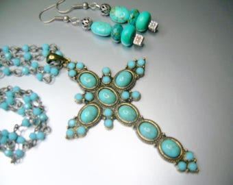 Boho Pewter Cross Necklace With Faux Turquoise, Czech Glass Beads And Matching Earrings