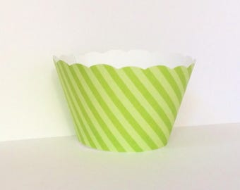 Green Stripe Cupcake Wrappers SALE