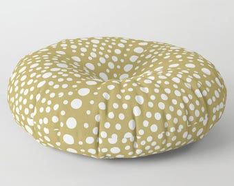 Gold floor cushion . Round cushion . Gold Pillow . Round pillow . Floor pillow . Geometric pillow . 26 inch pillow . 30 inch pillow