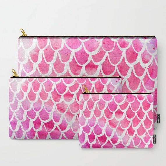 Pink Mermaid Zippered pouch - Zipper bag - Pink pencil case - Mermaid Ipad bag - Art pouch - Pencil bag - Pink Watercolor Makeup bag