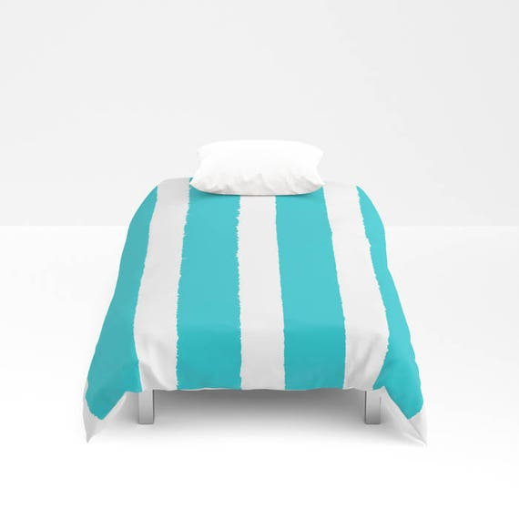 Aquamarine and White Stripe Duvet cover -  Duvet cover - Cyan bedding - Twin XL duvet - queen duvet cover - king duvet cover - full duvet