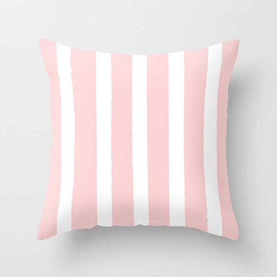 OUTDOOR Throw Pillow - Blush Pink and White Outdoor Pillow - Stripe patio cushion - Modern Pillow - 16 18 20 inch - Rose Pink Outside Pillow