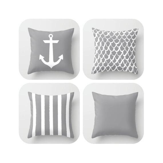 Grey Throw Pillow - Mermaid Pillow - Anchor Pillow - Coastal Pillow - Striped Pillow - Gray cushion - Grey Throw Pillow - 16 18 20 24 inch