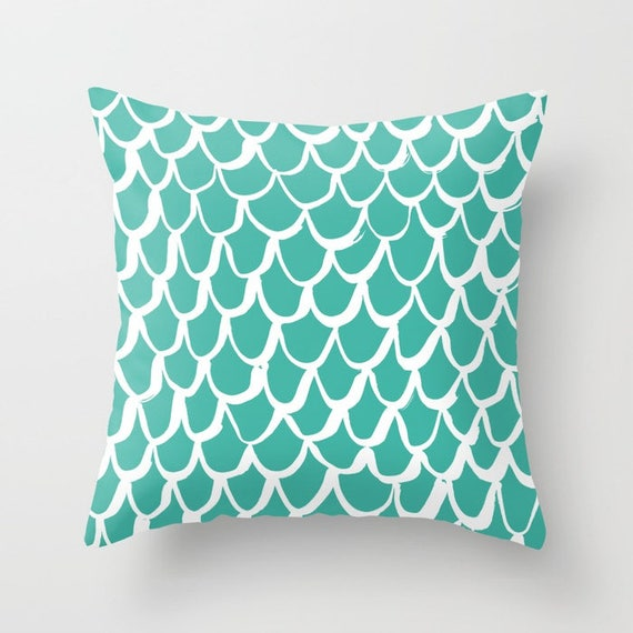 OUTDOOR Throw Pillow . Mermaid Outdoor Pillow . Turquoise patio cushion . 16 18 20 inch . Jade Mermaid Outside Pillow . Green Outdoor Pillow