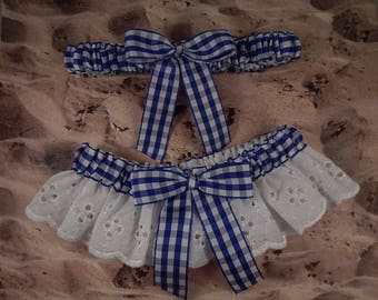 Royal Blue Gingham White Eyelet Lace Country Barn Outdoor Wedding Garter Toss Set