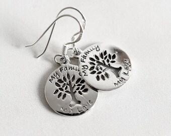 """925 Sterling Silver Earrings """"My Family"""""""