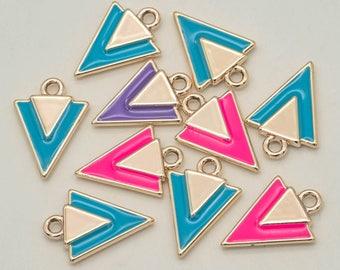 Gold Tone Triangle  Charms, 5pcs, Geometric Charms, Enamel, Mixed Colors -C928