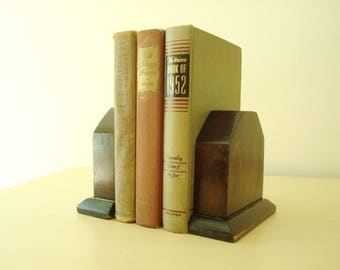 Vintage bookends, dark stained pine, Craftsman style, vintage handmade library bookends, mid-century library style, bookcase accessory