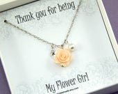 Flower Girl Necklace,Flower Girl Gift,Personalized Necklace, Flower Girl Jewelry,Junior Bridesmaids,Flower Girl Thank You Gift