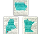 Set of 3 states prints, over sheet music background.