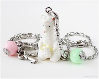 Alpaca Figurine Charm Necklace, Kawaii Necklace, Fairy Kei, Sweet Lolita