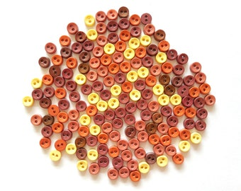 100 pcs Tiny Buttons micro buttons 2 holes size 6mm mix brown tone