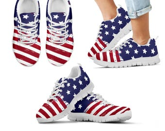 American Flag Kids Sneakers USA Flag Shoes Red White Blue Stars Stripes