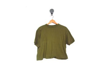 Vintage 80s ARMY Green Distressed Cropped Cotton Short Sleeve Top women m l men m grunge hipster t shirt vestiesteam USA military midriff