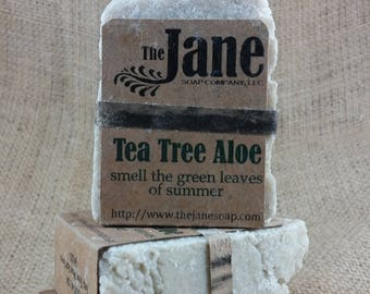 Tea Tree Aloe Sea Salt Soap - Green Leaves of Summer - Rustic Hot Process Soap