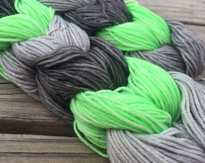 Mini Skein Chain Set of 6 Hand Dyed miniskeins lime green gray Hand Painted Sock Yarn 28 Yards Superwash Merino Nylon Treasured Toes