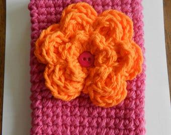 Crocheted Cell Phone Cozy/ Crocheted Orange Flower Cell Phone Cozy/ Bright Pink Phone Cozy