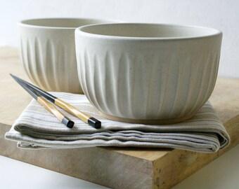 Set of two gyudon stoneware pottery bowls - glazed in vanilla cream