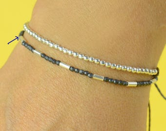 Hematite and sterling silver beads Bracelet