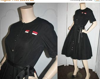 ON SALE Vintage 1960's Dress. Black Rockabilly Shirt Dress with Red and White Pocket Detail and Full Skirt. Medium.