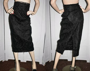 80's Black Lace and Silver Metallic High Waist Pencil Skirt from Hill Street Clothing Company. Medium.