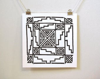 """abstract art inspired by antiquity: """"azteca,"""" original geometric ink drawing"""