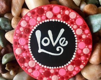 Painted Wooden Love Magnet