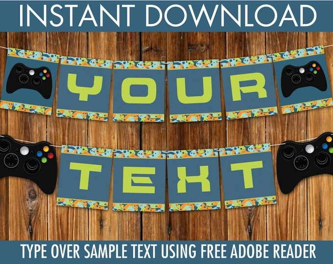 Video Game Party Banner - Gamer Birthday Party, Video Game Decorations, Blue Camo | DIY INSTANT Download PDF Printable