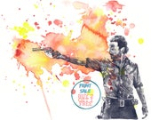 Walking Dead Poster Rick Grimes Poster Print From Original Watercolor Painting Print The Walking Dead Art Walking Dead Gift Walking Dead Art