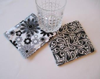 black and white coasters set of 4 or 6 reversible black paisley coasters black mug rugs