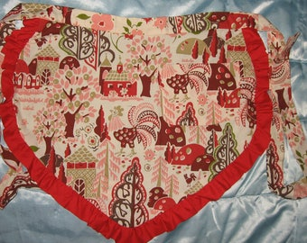 JKW Handmade Country Chic Farm Barn Flowers ROOSTERs Half APRON with Pocket
