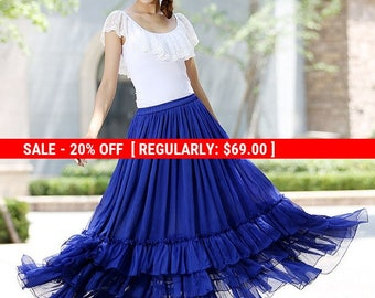 blue skirt, long blue skirt, long skirts for women, maxi chiffon skirt ,tiered skirt ,royal blue skirt,Custom made skirt (1018)
