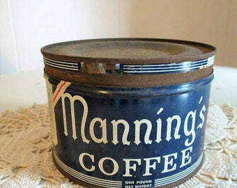 On SALE Vintage Mannings Coffee Tin Can