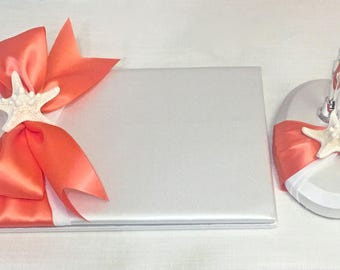 Beach Wedding Guest Book and Pen with Starfish  - Six Ribbon Choices - coastal wedding