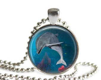 Dolphin Underwater with coral necklace, Summer Beach Dolphin Art Pendant, Dolphin Beach Cruise Jewelry, Under the water art, Gift For Her