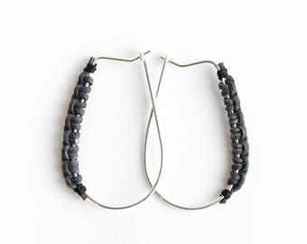 Root earrings - Hoop sterling silver earrings with leather wrap