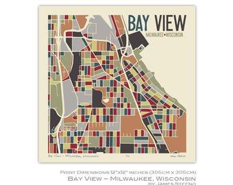 Bay View Neighborhood - Milwaukee, Wisconsin Art Map Print by James Steeno