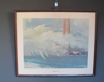 Vintage Framed Art , Summer Fog by L. Macouillard