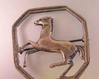 XMAS in JULY SALE Vintage 1940's Horse Brooch Pin Sterling Silver Fine Jewelry Jewellery