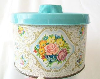 1950s Floral Tin, 1958, candy tin, Mrs Leland's, turquoise plastic lid, storage